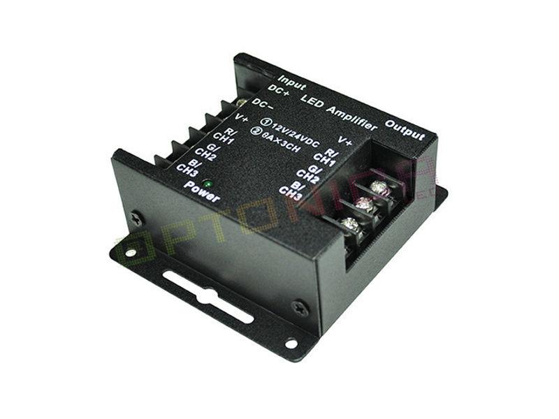 Pojačalo signala za LED traku, RGB, 12/24 V, 288 W, 3x8A, metalno - Optonica