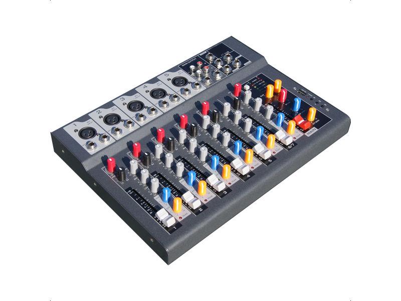 Mikser F-7, s MP3 player-om, 5 XLR + 1 stereo kanal, delay efekt - X-Audio
