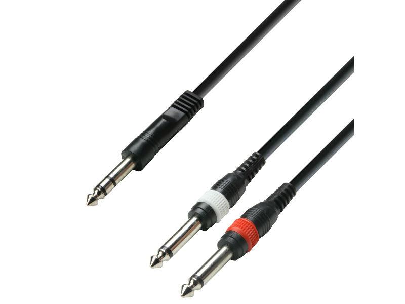 Kabel, gotovi, 6,3 mm muški stereo / 2 x 6,3 mm muški mono, 6 m - Adam Hall