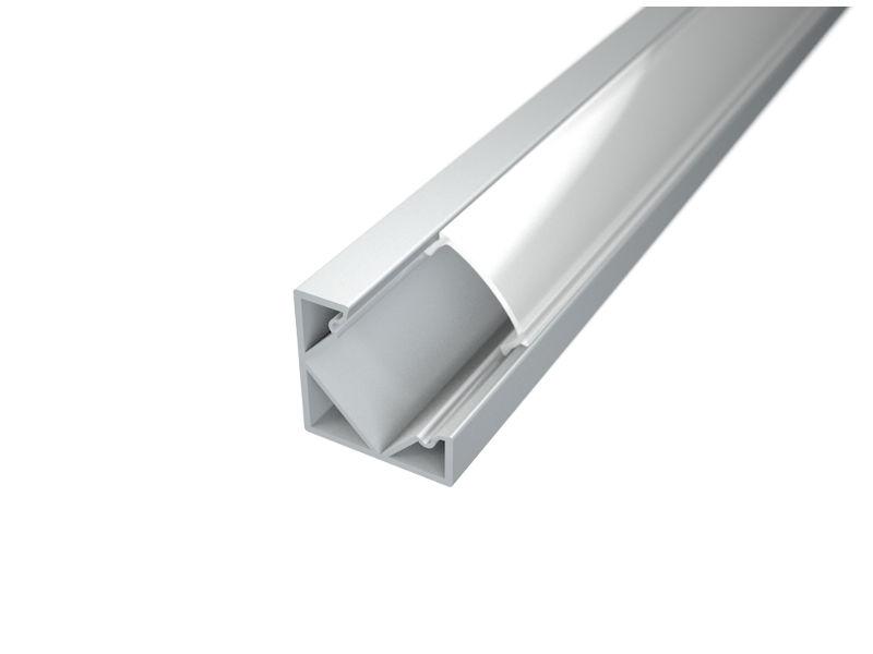 LED profil, Corner 1, kutni, mliječni pokrov, 2 m