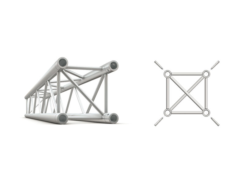 Alu konstrukcija, kvadratna, ravna, cijev 50x2 mm, 1 m + spajalice - Miloš systems
