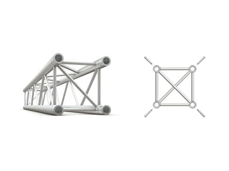 Alu konstrukcija, kvadratna, ravna, cijev 50x2 mm, 3 m + spajalice - Miloš systems