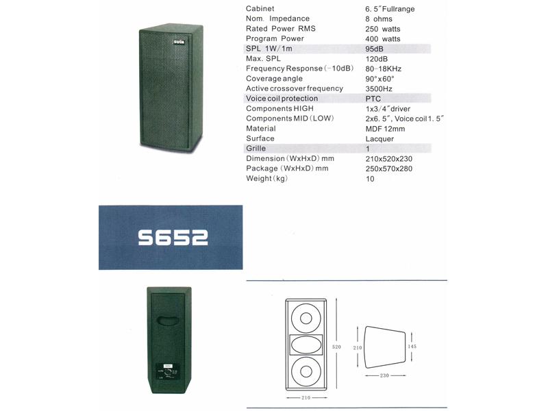 "Zvučna kutija S-652, 2x6,5"", 250 W RMS, 400 W program - Suim"