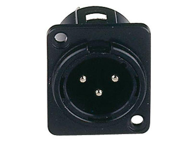Konektor, za šasiju, XLR, 3 pina, muški, crni