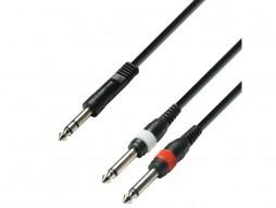 Gotovi kabel, 6,3mm muški stereo / 2×6,3mm muški mono, 6m – Adam Hall