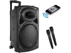 Prijenosni zvučnik/mini razglas s punjivom baterijom + 2 bežična mikrofona VHF, 300W RMS, 15″, MP3, USB, SD, BT, Mixer, EQ – Tesla