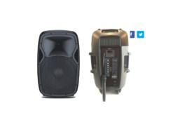 Prijenosni mini razglas s punjivom baterijom + 1 bežični mikrofon VHF+naglavni mikrofon, 50W RMS, 15″ zvučnik, MP3, USB, SD, BT, Mixer, EQ – Tesla