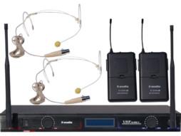 Bežični UHF set uključuje 2 naglavna mikrofona, fiksne freq.629,15 MHz/680,45 MHz – X-Audio