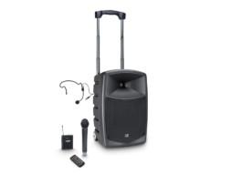 Zvučna kutija ROADBUDDY 10B6 HBH, 120W, aktivna, prijenosna, na baterije, s bluetoothom i mixerom, bežični naglavni + bežični ručni mikrofon – LD Systems