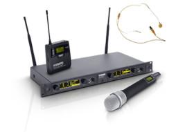 Bežični mikrofonski set s belt packom, bež headsetom i ručnim dinamičkim mikrofonom 734-776MHz – LD Systems WIN 42 HBHH 2
