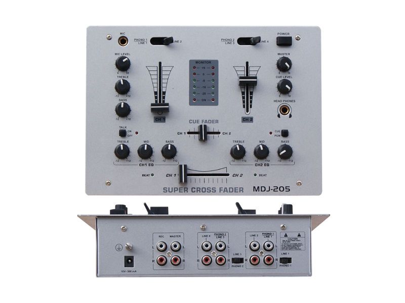 DJ mixer DJM205, 2 kanala + 1 mic – X-Audio