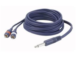 Gotovi kabel mono banana 6,3mm / 2 RCA muški, 3m – DAP