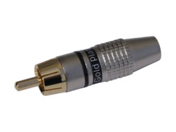 Konektor, za kabel, RCA (činč), pozlaćeni sa crnim prstenom