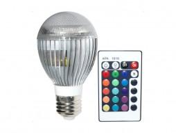 LED žarulja E27, RGB, 3X3W, s daljinskim kontrolerom