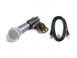 Mikrofon, žični, vokalni, BK-20 Beta Pro, sa sklopkom, hvataljkom i 10 m XLR kabla M/Ž – X-Audio