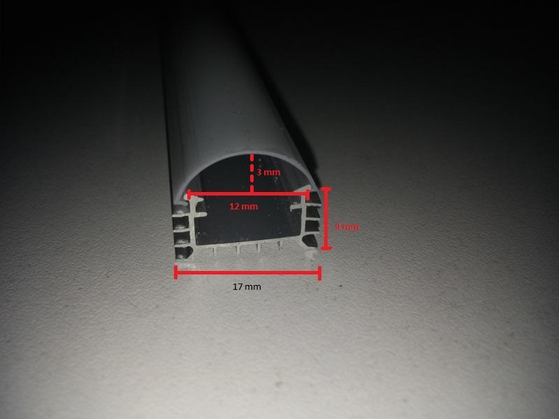 Alu profil s led trakom, mliječni plastični poklopac, 3000 K, 1 m, 12×17 mm