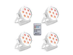 LED reflektor PAR set od 4, 7x3W FLAT RGB bijeli s infracrvenim daljinskim CAMEO