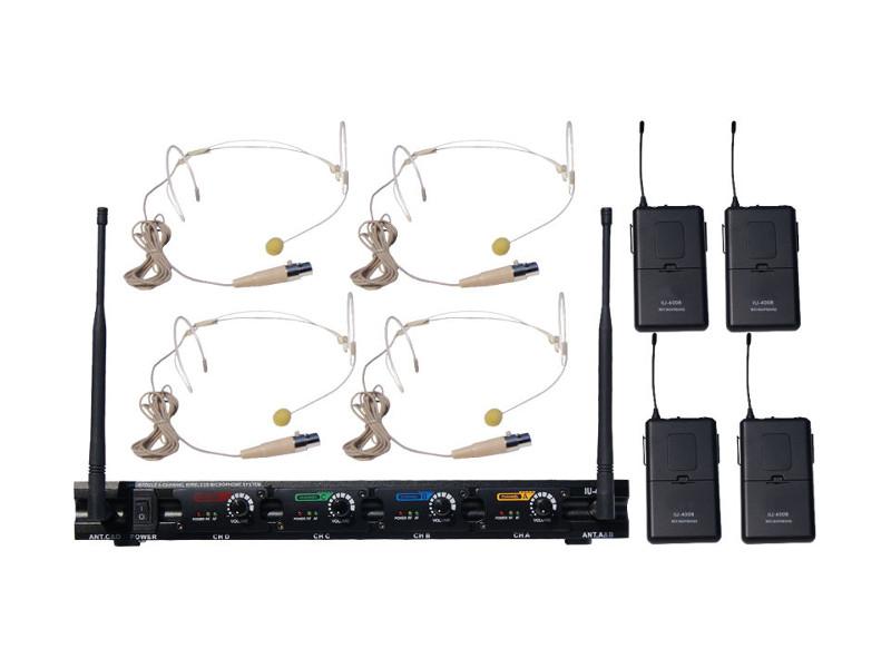 Bežični UHF set 4 naglavna mikrofona u boji kože, fiksne freq. (625,15/631,75/693,65/696,65 MHz)- – X-Audio