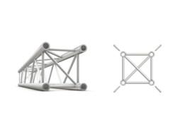 Alu konstrukcija, kvadratna, ravna, cijev 50×2 mm, 0,5 m + spajalice – Milos