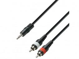 Adam Hall Gotovi kabel 3,5mm M stereo / 2x RCA M mono, 1m