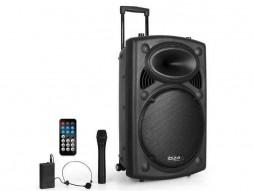 Prijenosni zvučnik PA sistem, Ibiza  PORT15VHF-BT, 15″, USB, SD kartica, Aux, MP3, bežični ručni i naglavni mikrofon
