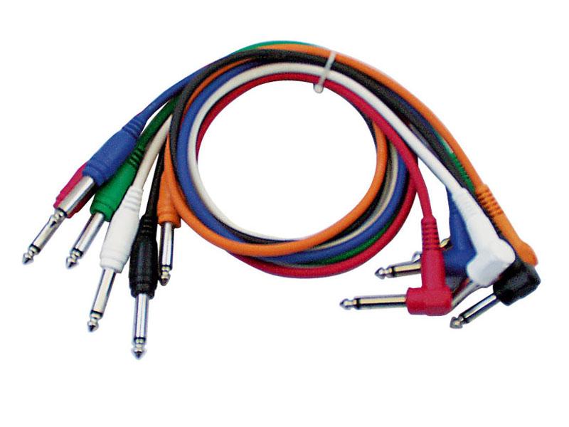 Tesla Gotovi kabel 6,3mm mono M / 6,3mm mono M kutni, set 6 komada, 0,75m
