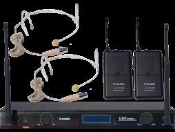 Bežični UHF set, uključuje 2 naglavna mikrofona, fiksne freq.629,15 MHz/680,45 MHz – X-Audio