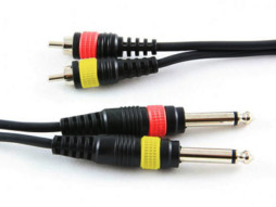 Tesla Gotovi dvostruki kabel, 2x RCA / 2x jack 6,35mm, 3m