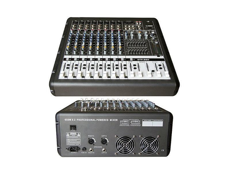 X-Audio Mikser GTP-860 PRO, s pojačalom, 2x 650W/4 Ohma, 8 ulaza, USB/MP3 player, multiefekt