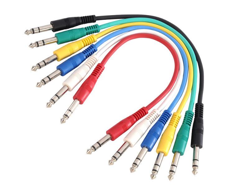 Adam Hall Gotovi kabel patch u bojama stereo jack 6,3mm / stereo jack 6,3mm, set 6 kom 30cm