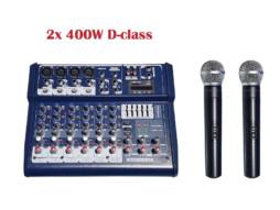 Mikser Hercul-400 2x 400W class-D s 2 bežična UHF mikrofona X-AUDIO