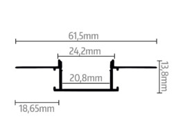 LED profil Recessed 5, za knauf 13,8mm x 24,2mm, 2m