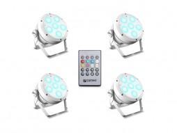Cameo LED reflektor ROOT PAR6 WH SET1 6x12W RGBAW+UV Spotlight, uključen IR daljinski, bijeli