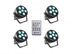 Cameo LED reflektor ROOT PAR6 WH SET1 6x12W RGBAW+UV Spotlight, uključen IR daljinski, crni