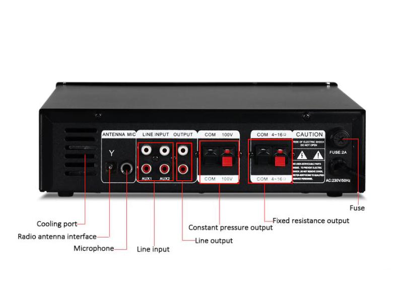 Tesla Pojačalo 100V,4-8Ohm, 80W, MP3/USB/SDcard player, FM radio, BlueTooth (bez zona)