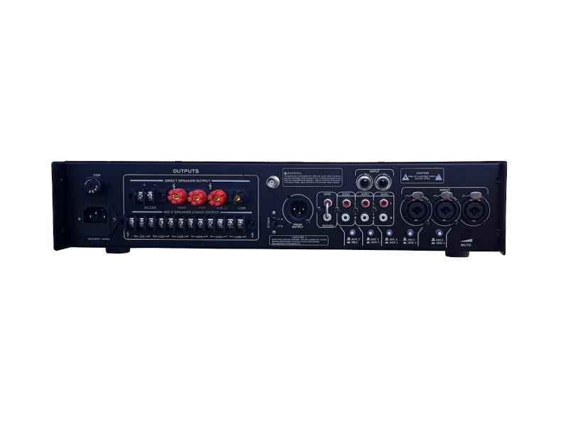 X-Audio Pojačalo 100V, 250W, MP3/USB/SDcard player/BT, FM radio, Phantom 48V, 6 zona