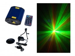 Mini Laser MX-01, 100mW crvena + 50mW zelena, Grating&Gobo efekt, podni + zidni stalak
