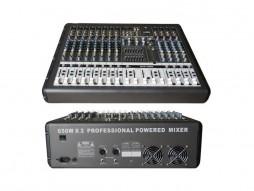 X-Audio Mikser GTP-1260 PRO, s pojačalom 2x 650W/4 Ohma, 12 ulaza, USB/MP3 player, multiefekt