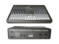 Mikser GTP-1660 PRO, s pojačalom, 2 x 650 W/4 Ohm, 16 ulaza, USB/MP3 player, multiefekt – X-Audio