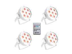 Cameo LED reflektor CLPFLAT1TRI3WIRWH, set 4 PAR reflektora 7x3W high power, FLAT LED RGB, IR daljinski, bijeli