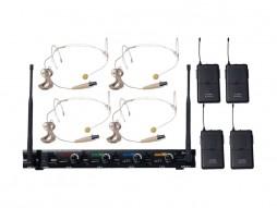 Bežični UHF set, 4 naglavna mikrofona u boji kože, fiksne freq. (625,15/631,75/693,65/696,65 MHz)- – X-Audio