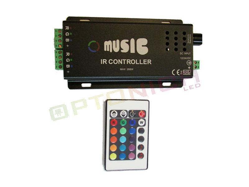 Optonica Daljinski kontroler za LED traku + Upravljanje Zvukom 18A 12VDC