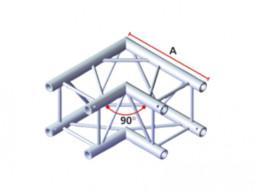 Alu konstrukcija kvadratna, kut, 2 smjera, 90°, 29 cm, stijenka 2mm 50*50cm – Milos
