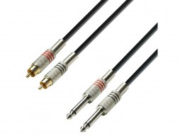 Adam Hall Gotovi kabel 2x RCA M / 2×6,3mm jack mono, 1m