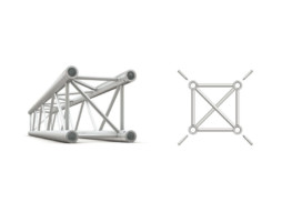 Alu konstrukcija, kvadratna, ravna, cijev 50x2mm, 1m + spajalice – Milos