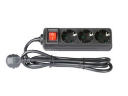 Adam Hall Produžni strujni kabel sa sklopkom, 3 utičnice, 1.4m, crni